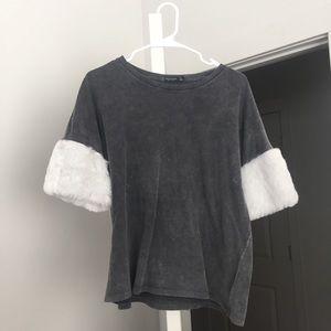 Tops - Acid Wash Tee with Faux Fur Sleeves